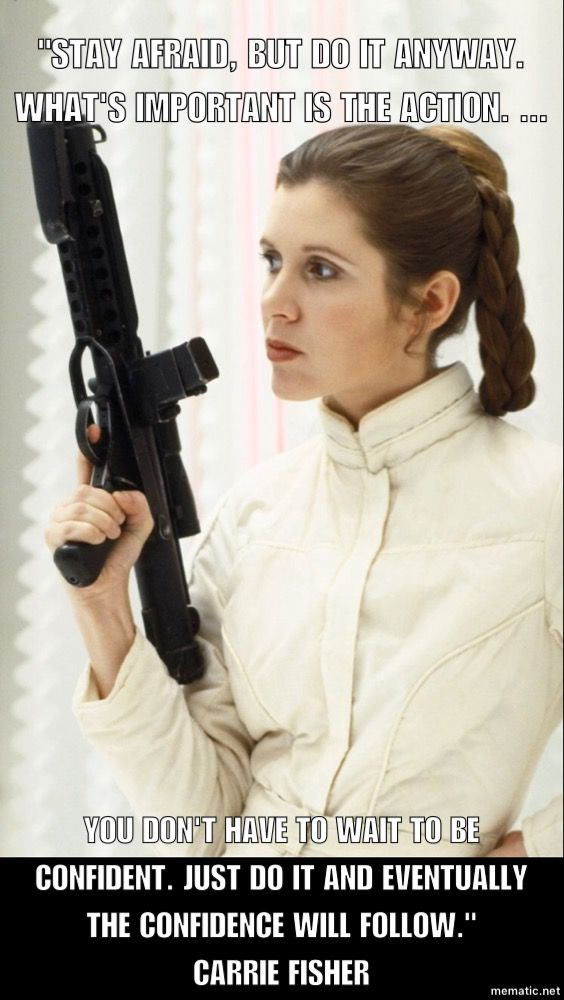 Carrie Fisher on confidence. Photo from IMDB. Quote via