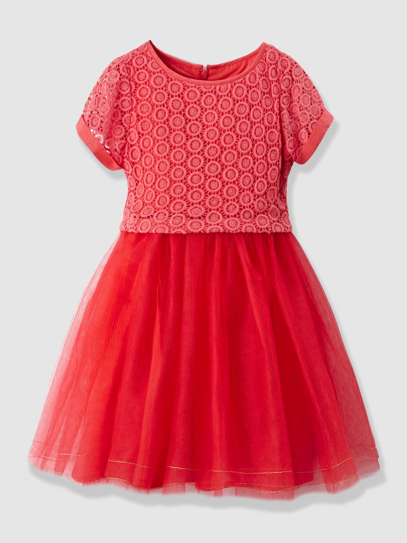 Vertbaudet Festliches Mädchenkleid mit Spitze in koralle   Mädchen ...