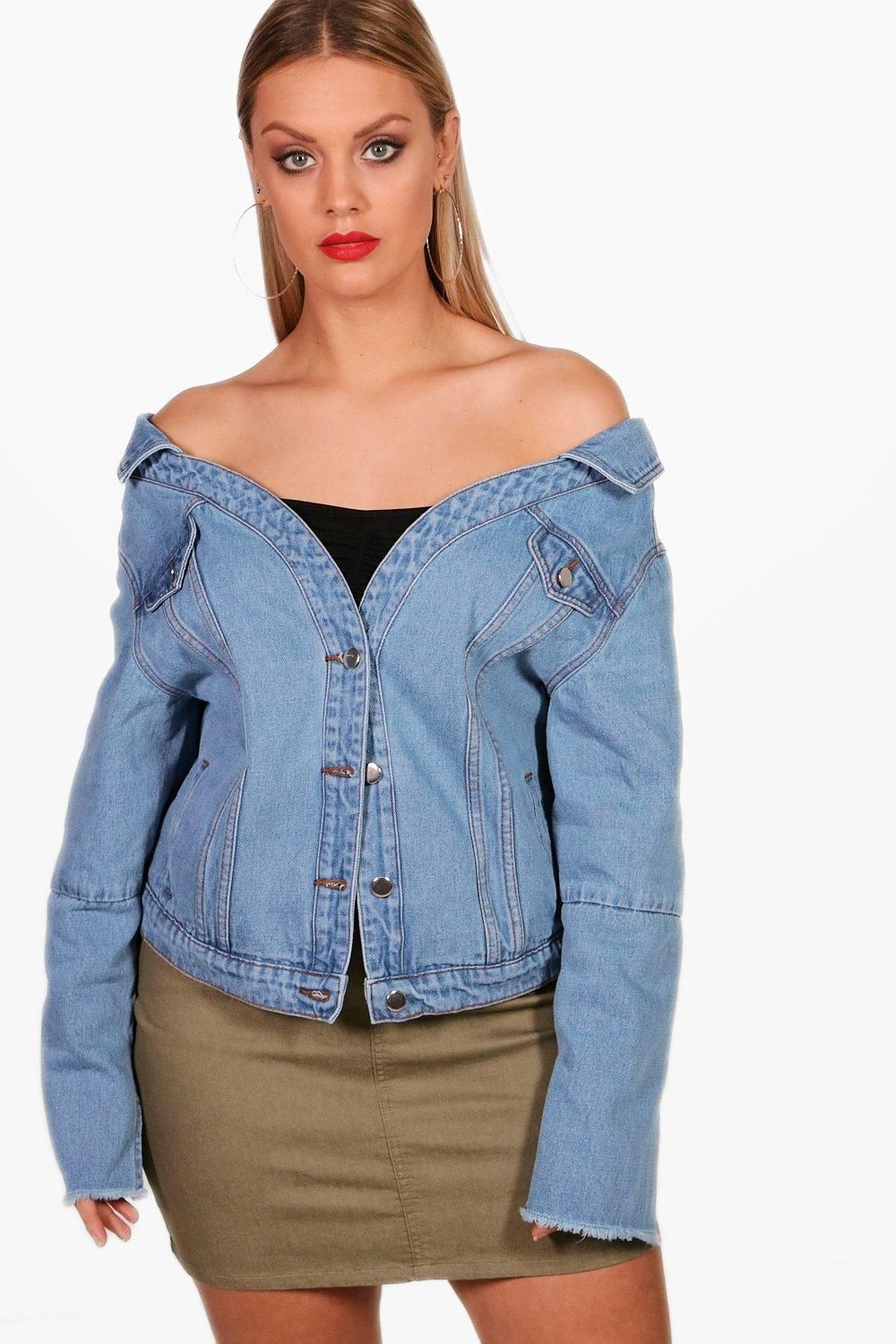 d7beecad7c8a Click here to find out about the Plus Bryony Off Shoulder Denim Jacket from  Boohoo, part of our latest Denim collection ready to shop online today!