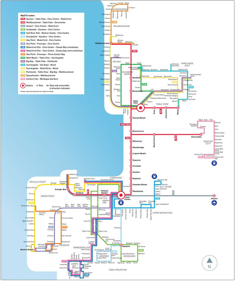 MyCiti Bus Route Map st Bedes stop for us bus rout project