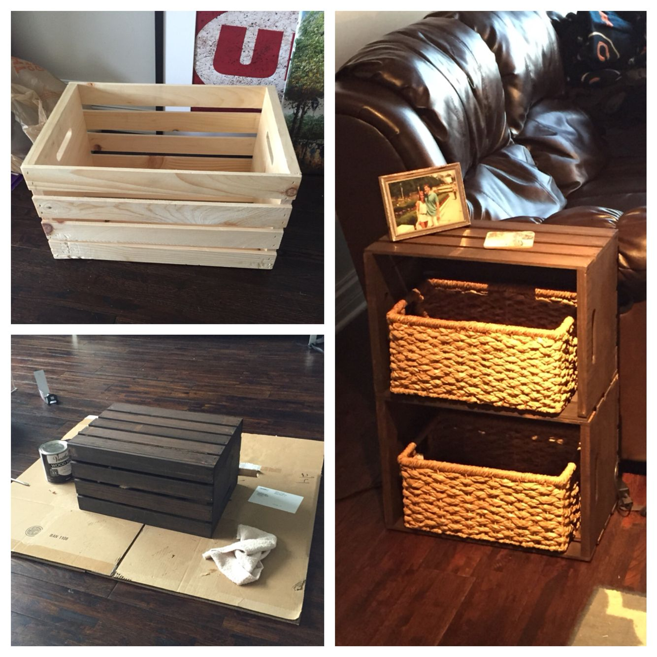 End table made from home depot wine crates my pinterest for How to make a coffee table out of crates