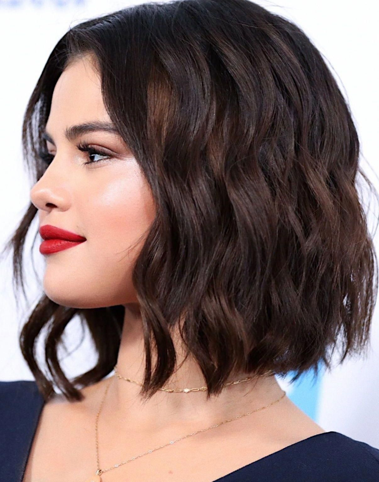selena gomez short bob hair style and curls #haircuts