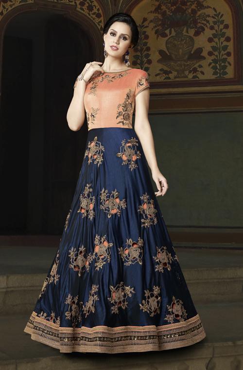 aecbc79bdd1 Navy Blue   Peach Designer Embroidered Silk Anarkali Gown