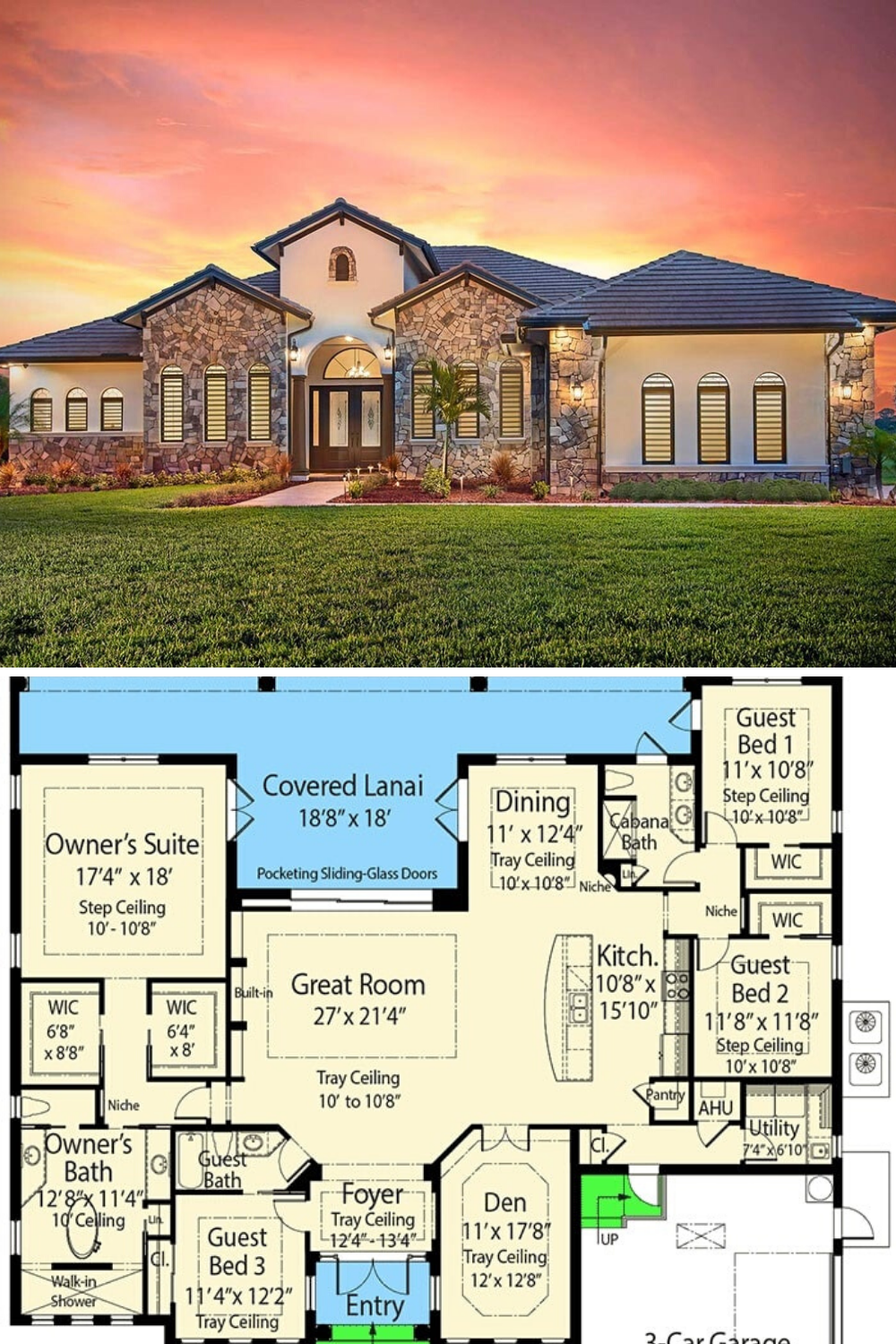 Single Story 4 Bedroom Mediterranean Home With Grand Primary Suite Floor Plan Basement House Plans Mediterranean House Plans Southern House Plans