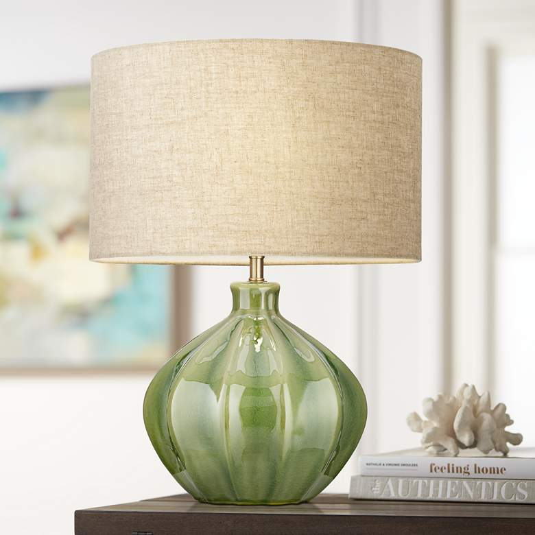 Gordy Green Ribbed Ceramic Table Lamp 56h48 Lamps Plus Green Table Lamp Ceramic Table Lamps Green Lamp