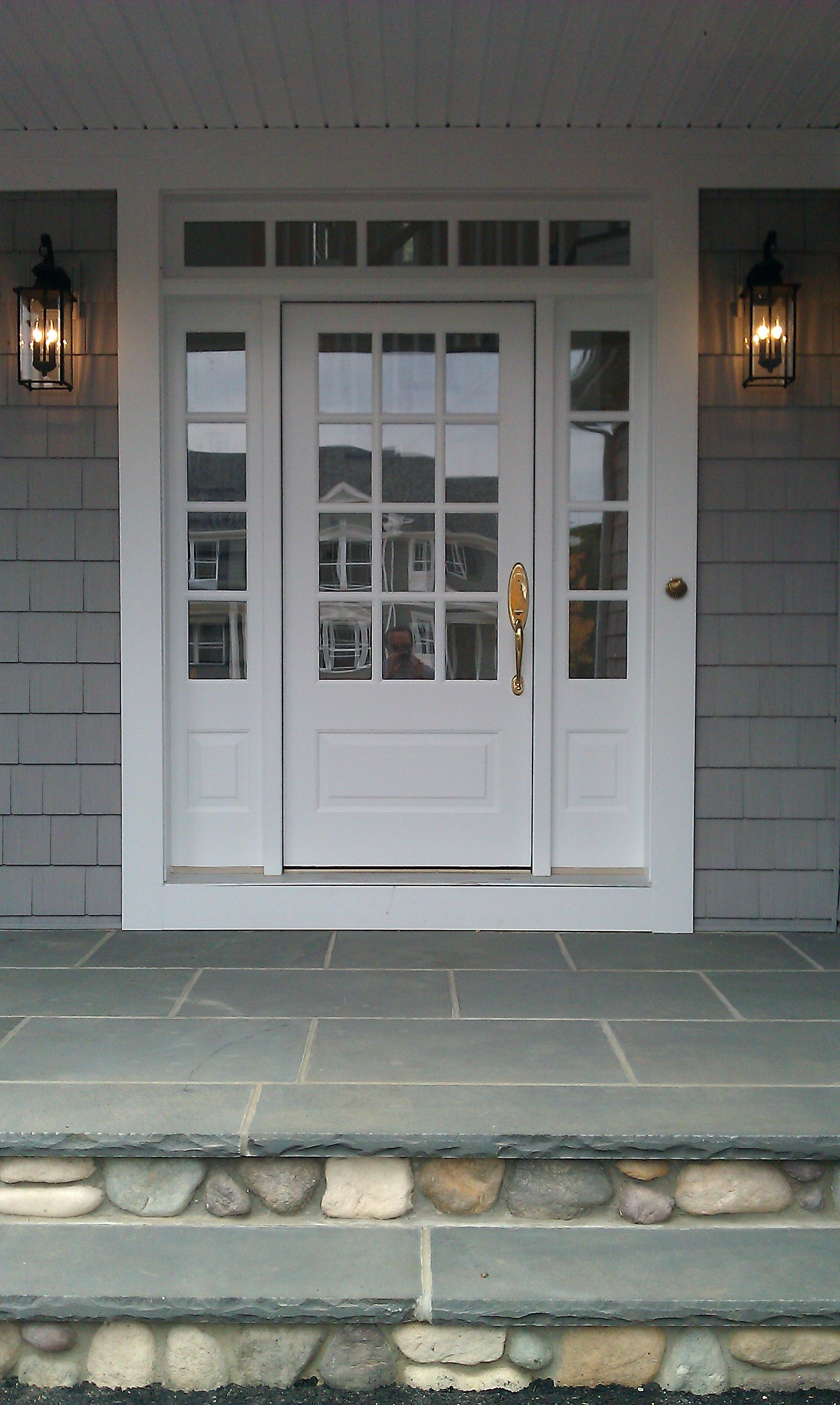 Transome and sidelites with wood 3 4 french front door for Black french doors exterior