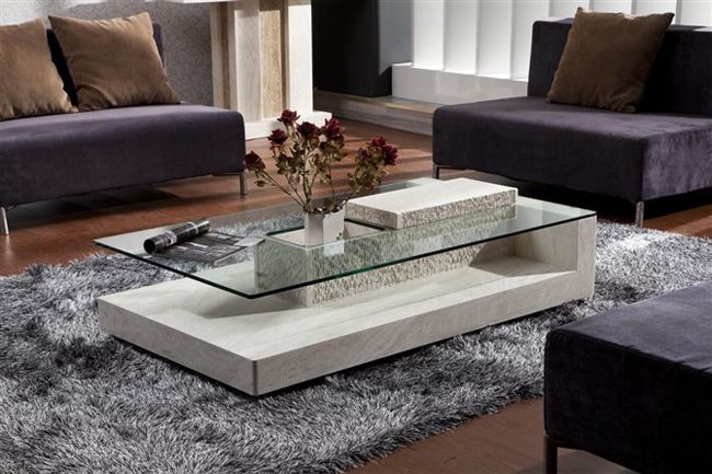 White Travertine Marble Tea Table(SJ 207A)