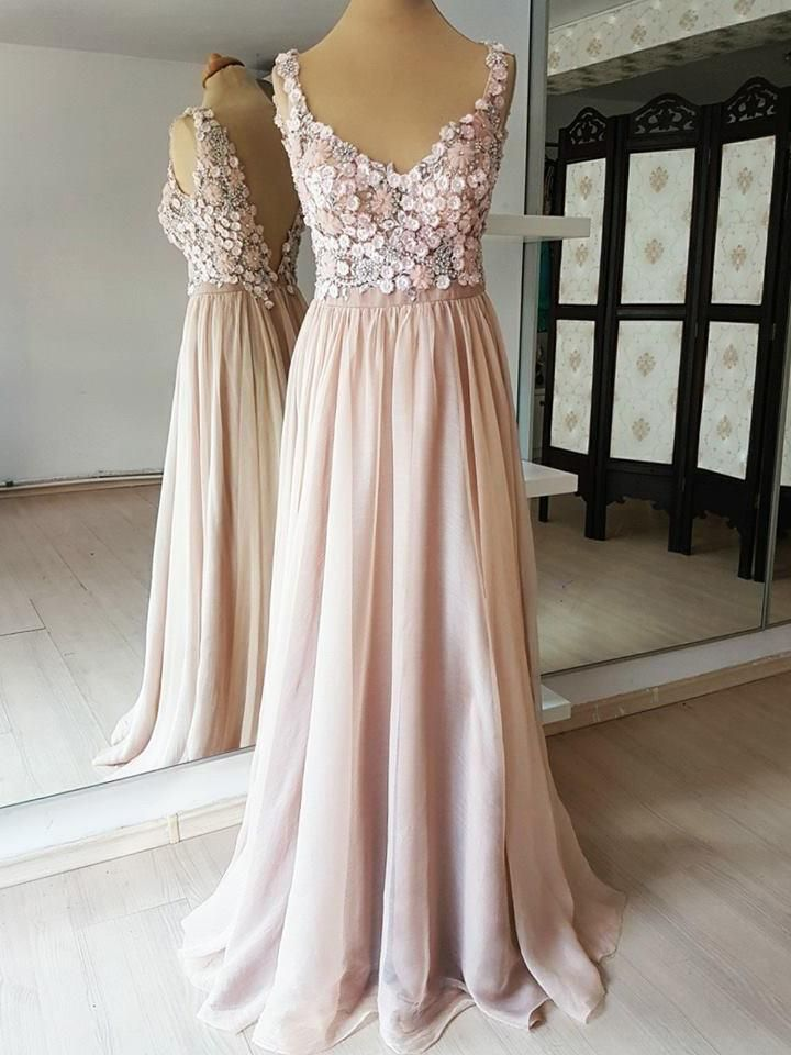 0f80cdd0588b6 Blush Pink Long Prom Dresses Flower Applique Beaded Backless Formal Dresses  APD3514