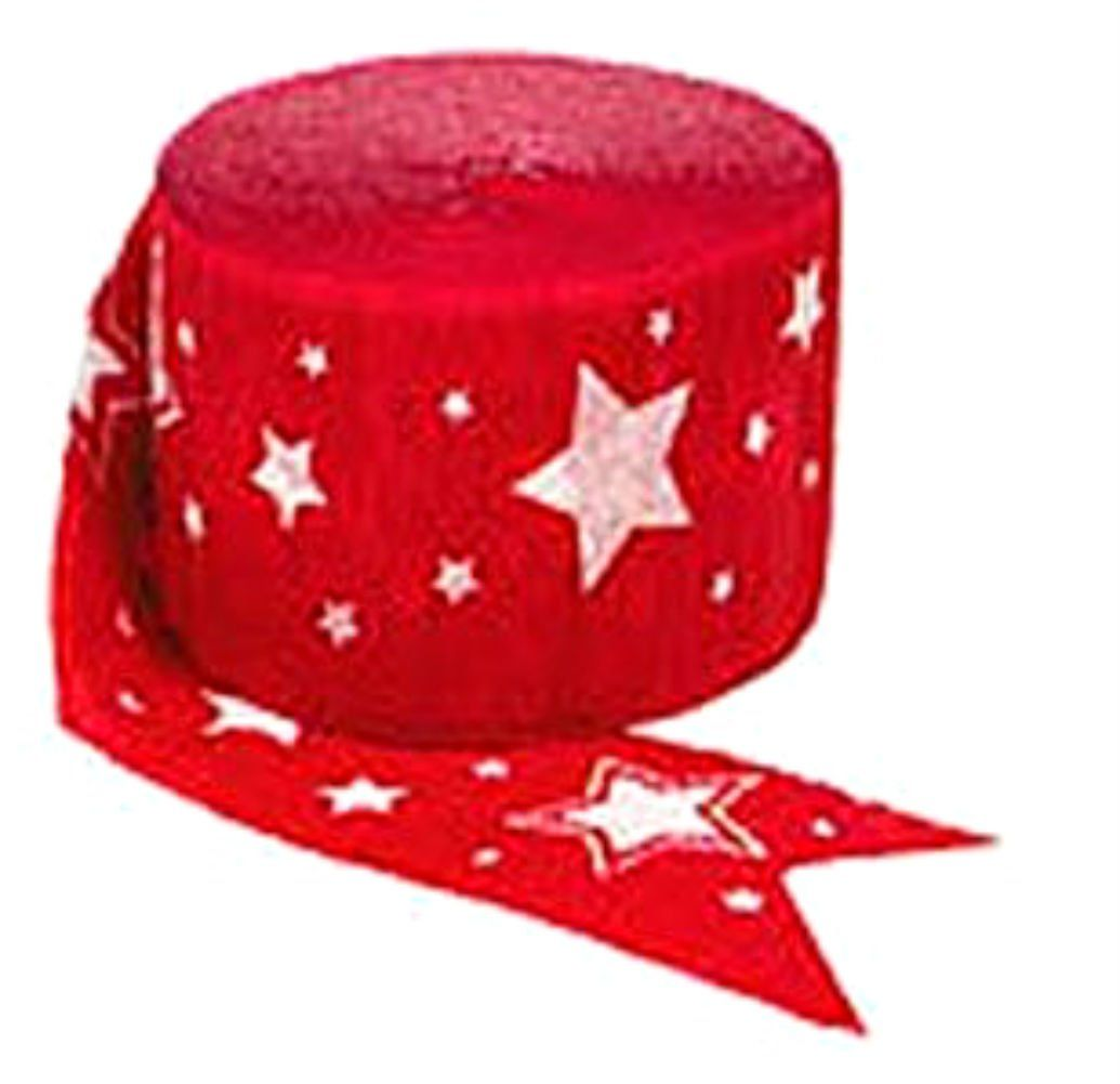 "[Single Pack] Crepe Paper Streamer Roll ""Stars Design"" for Decoration and Craft Supply with 81 Ft / 24.7 M Length {Red and White Colors}"