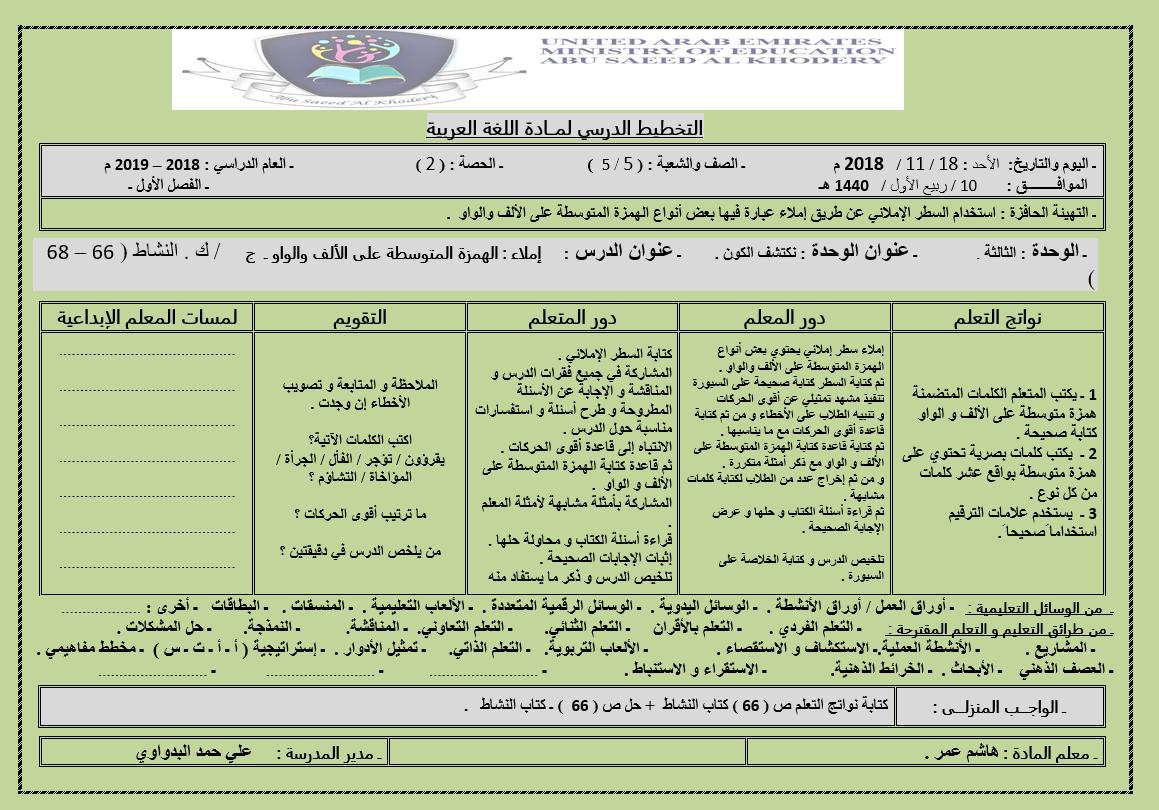 الخطة الدرسية اليومية درس الهمزة المتوسطة على الالف والواو للصف الخامس مادة اللغة العربية Aes 10 Things