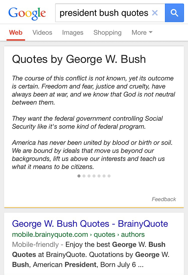 Google Now Shows Quotes For Famous People Without Sourcing Them