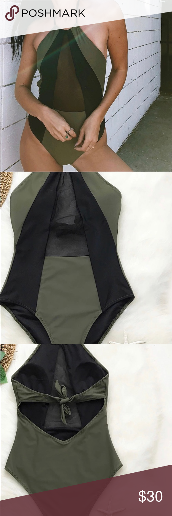 dfc3767f1f0 MONOKINI SWIMSUIT BRAND NEW Army Green And Black Mesh Halter One-piece  Swimsuit. MONOKINI SWIMSUIT. GREAT QUALITY. Swim One Pieces