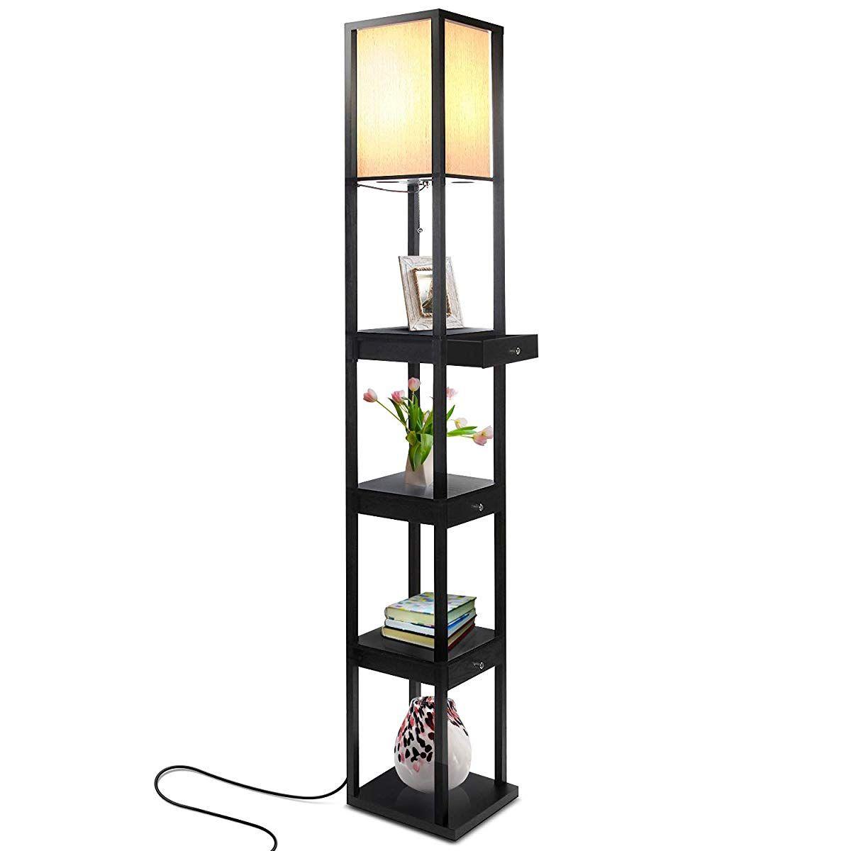 Shelf & LED Floor Lamp Combination Cool floor lamps