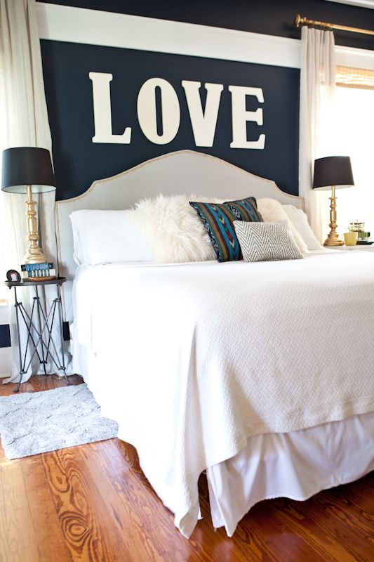 Upholstered Headboard With Nailhead Trim Pillows Navy
