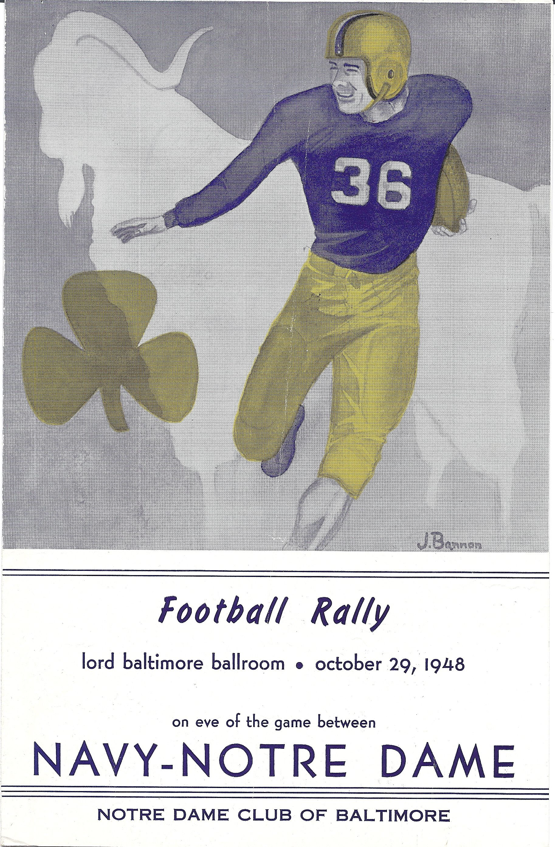 1948 Navy Notre Dame Football Rally Program Navy Football