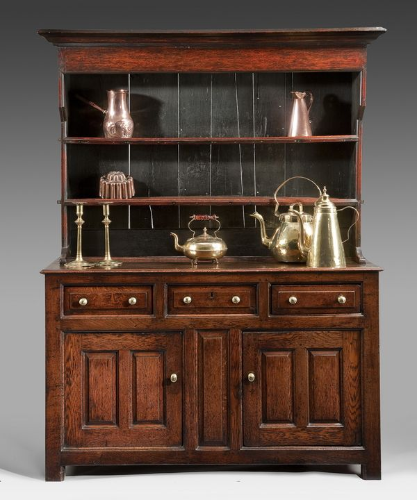 A Fine George Ii Period Oak Dresser And Rack Of Small Proportions And Retaining A Rich Colour Throughout Circ Oak Dresser Antique Welsh Dresser Welsh Dresser