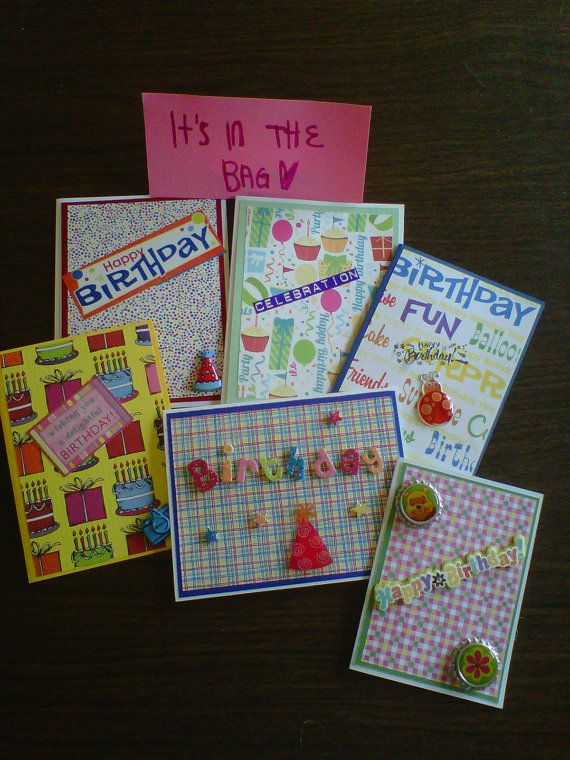 Set of 6 Birthday cards by Itsinthebag2389 on Etsy, $6.00