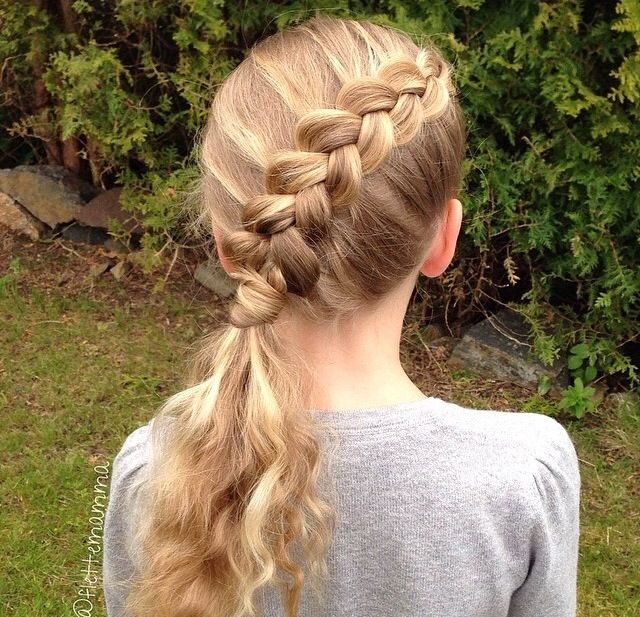 Diagonal French Braid Into A Hair Wrapped Ponytail Cute With