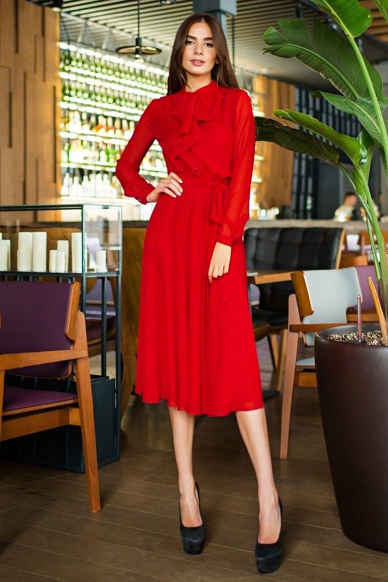e9ac2e00c4d Воздушное платье с бантом красного цвета от SL.IRA. Купить стильные  дизайнерские ПЛАТЬЯ недорого