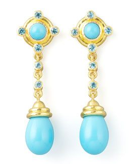 Elizabeth Locke Turquoise & Diamond Earring Pendants fX1UO