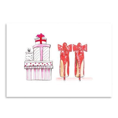 Americanflat Xmas Red Shoe Gifts by Alison B Illutrations Original Painting Size: