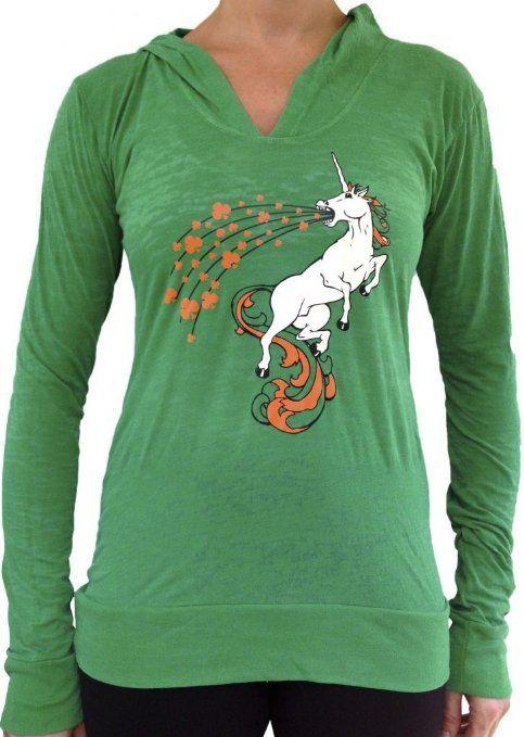 Amazon.com: SoRock Women's Irish Unicorn Burnout Long Sleeve Hoody Green: Clothing