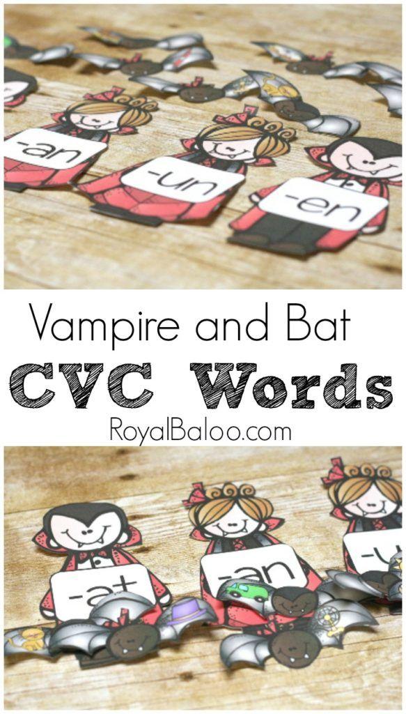 Vampire CVC Matching Free Printable Spook-tacular Halloween Ideas - halloween decorations on pinterest