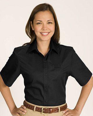 94fa688e8a8175 Ed Garments Women s Soft Collar Performance Short Sleeve Twill Shirt. 5740  Description 60% Cotton