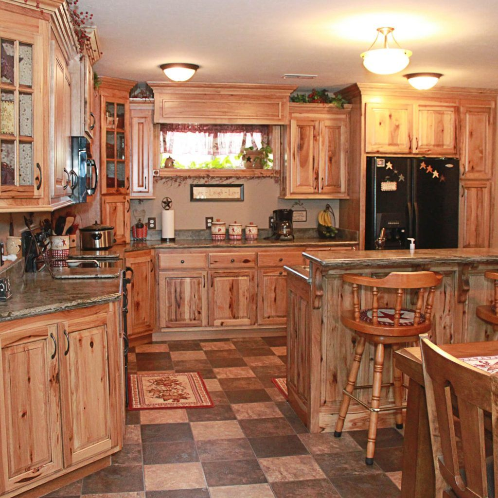 Charming Rustic Hickory Kitchen Cabinets Pictures