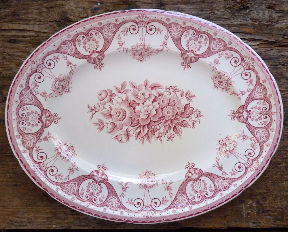 Vintage Oval SERVING PLATTER - Swinnertons KENT Red PINK Floral TRANSFERWARE #Swinnertons