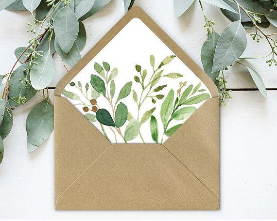 Greenery Envelope liner, Rustic Envelope wedding liner, Green twigs