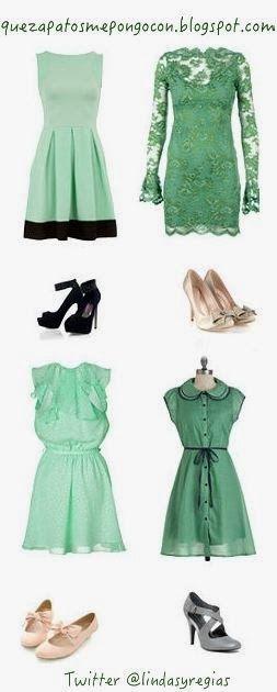 Vestido verde con zapatos vino