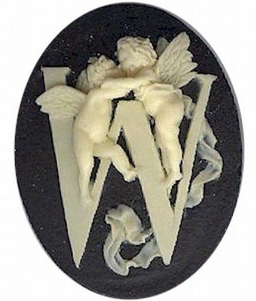 "Item#159x Acrylic 40x30 black/ivory letter ""W"" cameo"