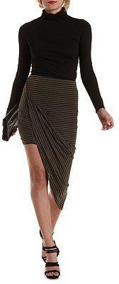 Striped Asymmetrical Wrap Skirt