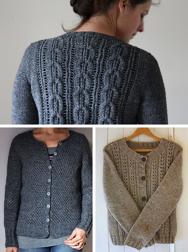 slightly lacy cardigan knitting patterns | tricot pull | Pinterest ...