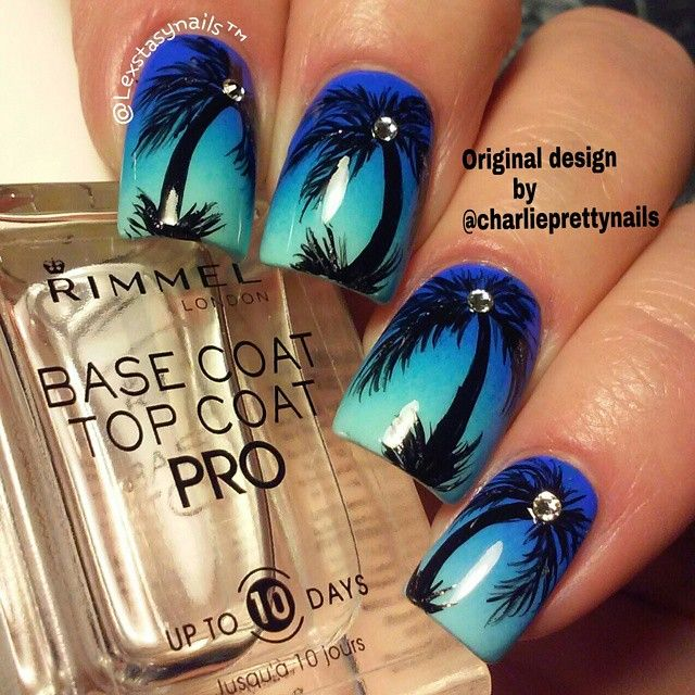 @lexstasynails created this cool combo of blue gradient and studded palm  trees. - Lexstasynails Created This Cool Combo Of Blue Gradient And Studded