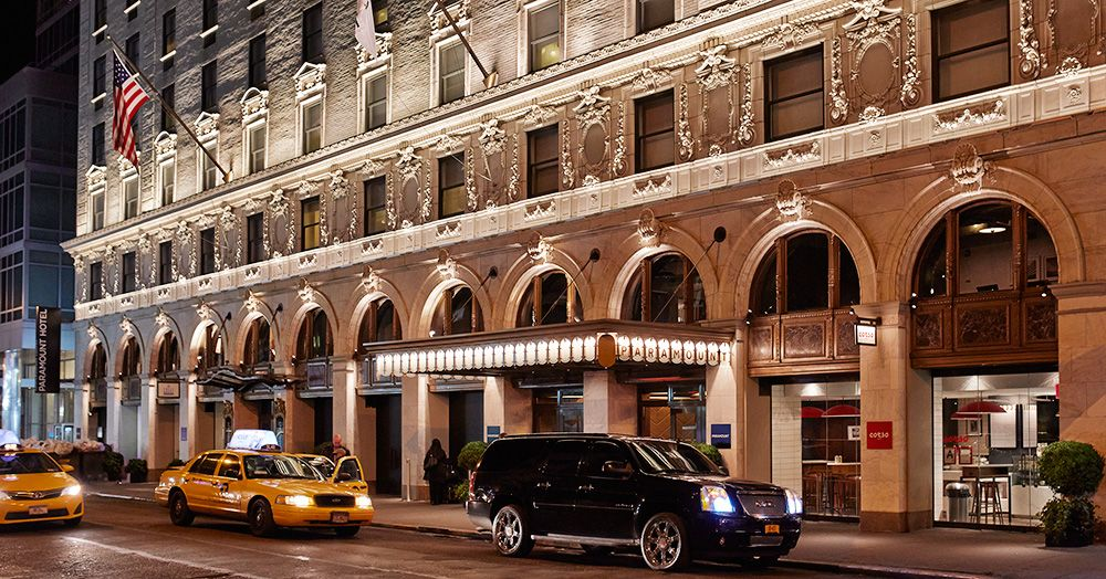 Paramount Hotel In New York City S Theater District Times Square History Paramount Hotel New York Hotels Times Square New York