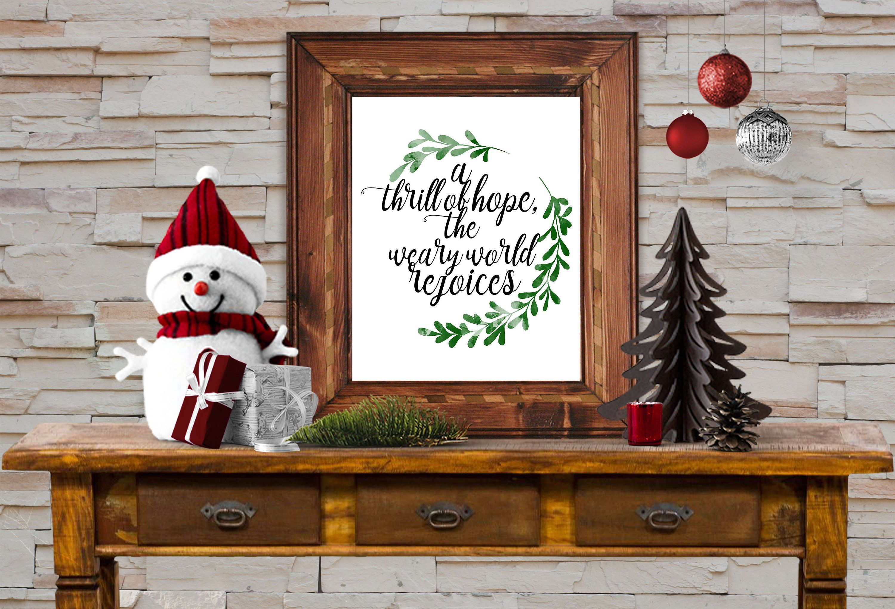 "Christmas Wall Art 8x10 Instant Download ""A thrill of"