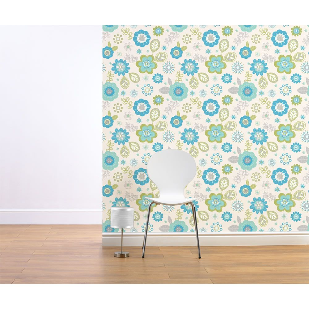 Wilko shower curtain grey at wilko com - Muriva Millie Wallpaper Blue At Wilko Com