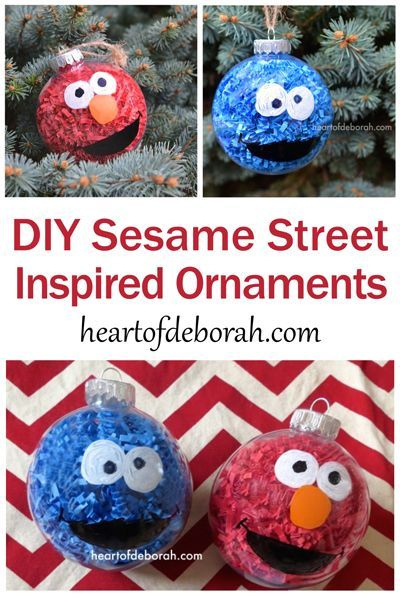 DIY Sesame Street Inspired Christmas Ornaments. This easy kid's craft makes  Elmo… - BRILLIANT DIY Sesame Street Christmas Ornaments For Kids To Make