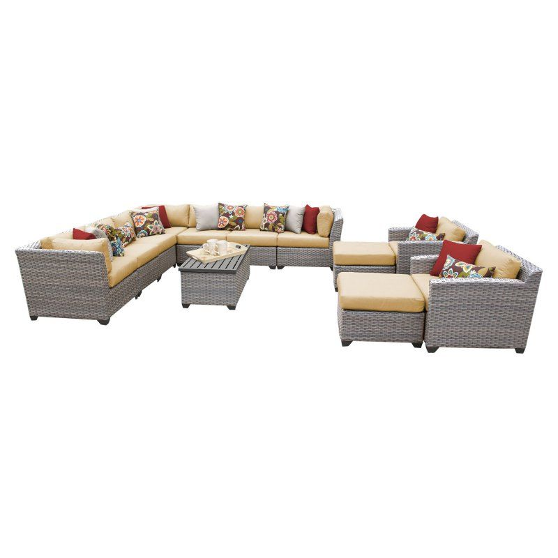 Outdoor TK Classics Florence Wicker 13 Piece Patio Conversation Set with 2 Sets of Cushion Covers Sesame / Wheat - FLORENCE-13A-SESAME