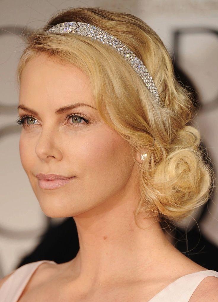 Charlize Gatsby1 Jpg 736 1018 Headband Hairstyles Celebrity Wedding Hair Gatsby Hair