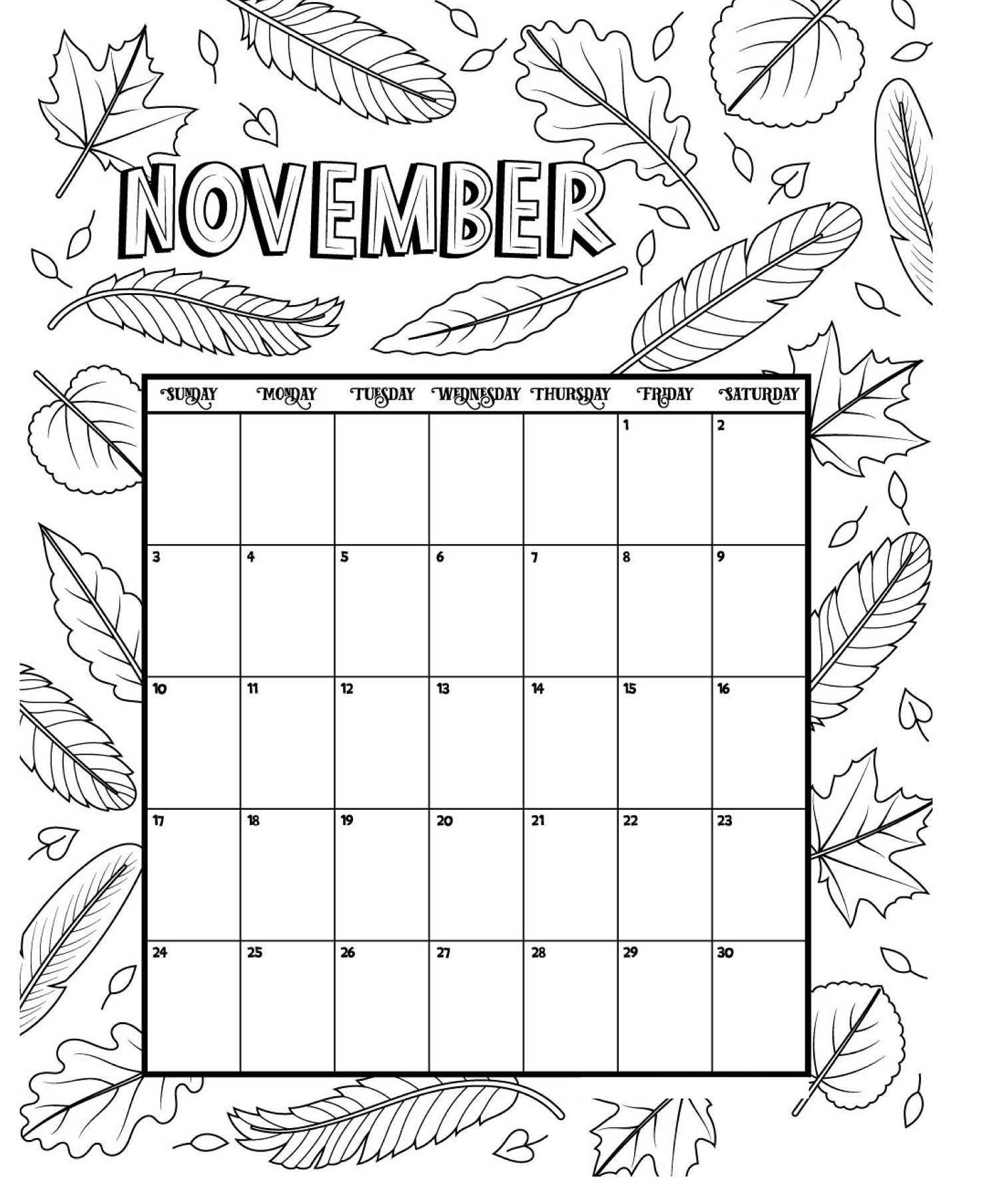 November Printable Coloring Calendar 2019 Coloring Calendar
