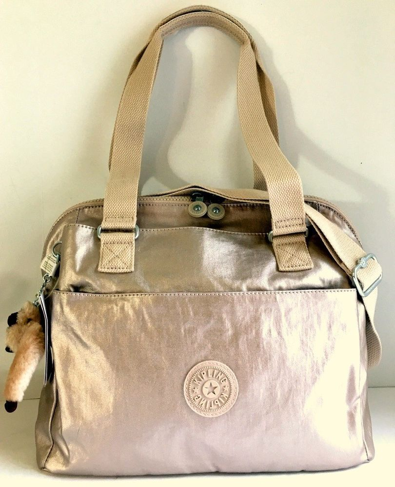 13227c81281 KIPLING Felicity Shoulder Satchel Bag Sparkly Gold Nylon HB7470 Xbody Tote  NEW #Kipling #Satchel