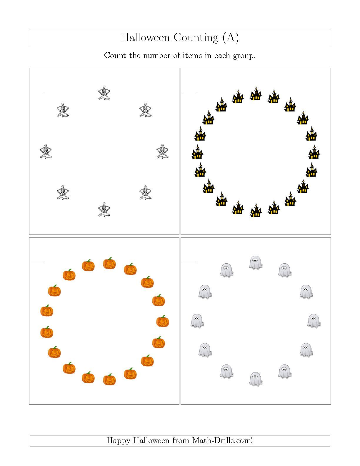 The Counting Halloween Pictures In Circular Patterns A
