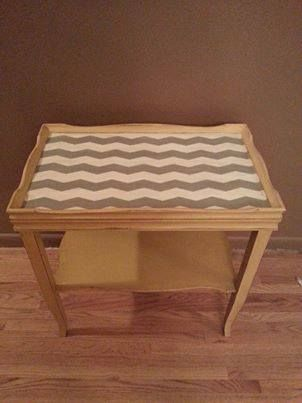 perfect lamp table and shelving for baby's nursery