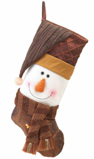 Golden Sparkle Snowman Stocking This happy snowman will bring smiles and cheer as he welcomes the holidays. His outfit features deep brown sheen and golden sparkle that is a rich departure from the usual holiday color scheme. $20.