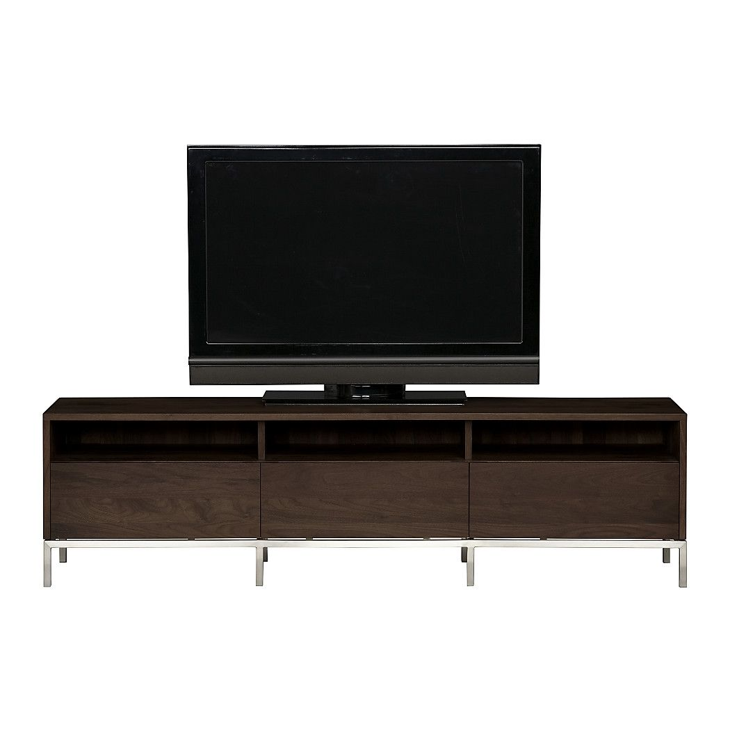 """Shop Pearson 72"""" Media Console. Divided open shelf below can be used to stow electronic equipment with three drawers side by side for closed storage. The Pearson 72"""" Media Console is a Crate and Barrel exclusive."""