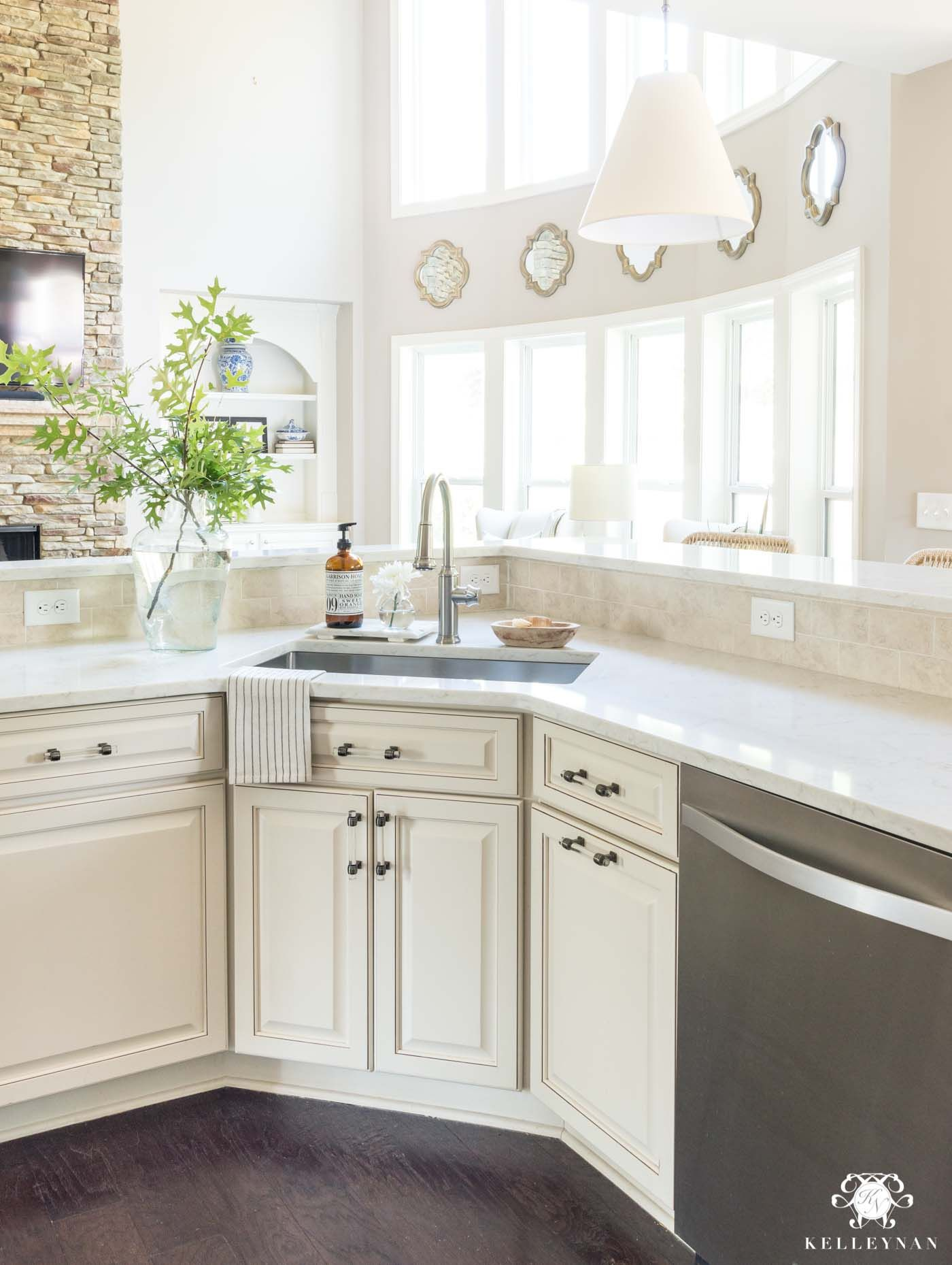 Update And Make A Traditional Cream Kitchen More Modern On A Budget Replacing Kitchen Countertops Kitchen Remodel Countertops Cream Cabinets