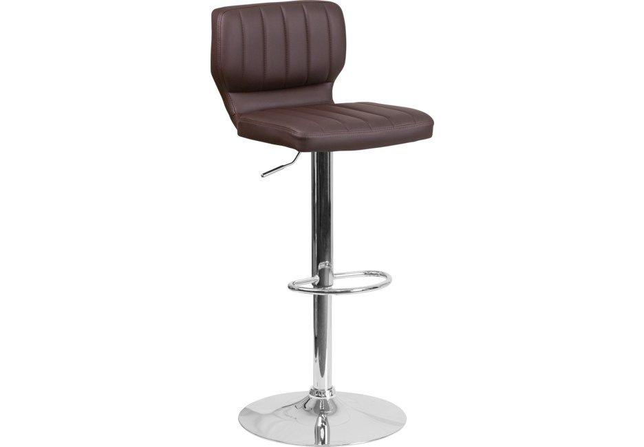 Vinnie Chocolate Adjustable Swivel Barstool Swivel Seating Bar